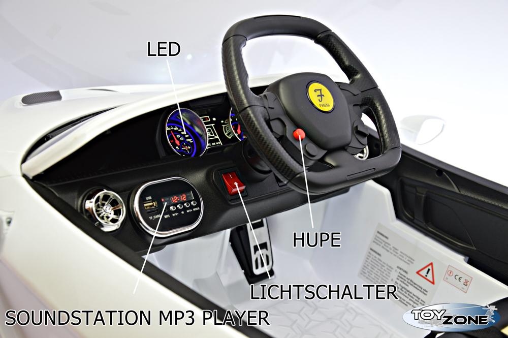 ToyZone Kinderfahrzeug 12V Kinderauto Kinder Elektroautos Kinder Elektro mit Fl/ügelt/üren Air Condition Eva Gummir/äder MP3 USB Ledersitz 2,4 GHZ