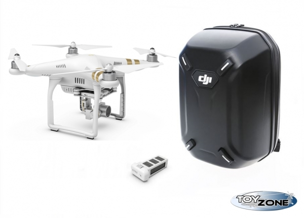 DJI - Phantom 3 Professional 4K + Extra Akku + Hardshell Backpack RTF Multikopter Drohne